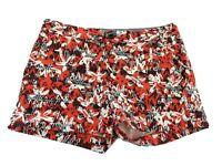 Banana Republic Shorts Sz 6 Small S Cotton Blend Stretchy Red White Black Print