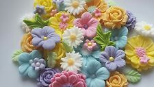 Edible Sugar  flowers  & leaves  Ideal cake topper for rustic or garden  cakes
