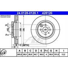ATE 2x Brake Discs Vented 24.0128-0120.1