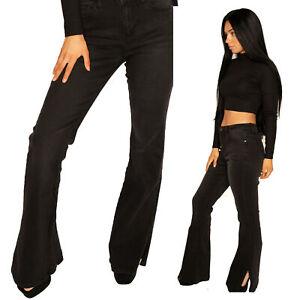 Black Flared Bootcut Jeans Long Leg Stretch Denim Flares Split Hem 90s y2k style