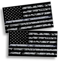 2Pcs Distressed Black American Flag Sticker Decal Subdued USA Car Truck Grunge