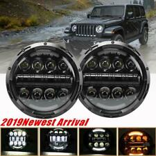 For Jeep Wrangler 7 inch Round LED Headlight Pair Hi/Low Beam Halo Angle Eye DRL