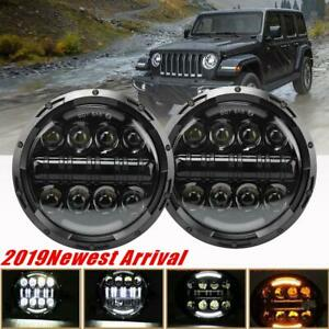 For Jeep Wrangler 7 inch Round LED Headlight Pair Hi/Low Beam  Angle Eye DRL