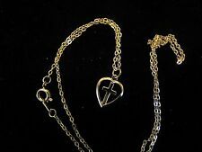 "Dainty Feminine Beautiful Golden Cross in Heart Necklace 18"" golden Chain"