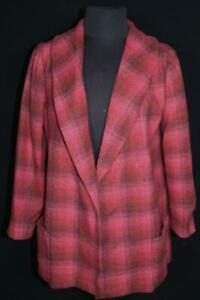 RARE WOMAN'S 3/4 VINTAGE RED PLAID 1950'S WOOL COAT SIZE MEDIUM