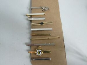 VINTAGE JOB LOT 10  MOTHER OF PEARL GOLD/SILVER TONE TIE PINS NIPPY CLIPS