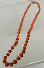 Antique Graduate Red Orange Chinese Coral Bead Necklace 14kt Marked Clasp