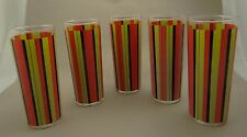 SET OF 5 RETRO/MOD COLORFUL ICED TEA GLASSES~Funky Modern 50s/60s Salmon Avocado