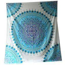 Tagesdecke Mandala Floral weiß türkis 230 x 210 cm Überwurf Vorhang Decke
