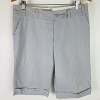 Charlie & Robin Anthropologie Shorts Size 10 Gray & White Pinstripe Long Bermuda