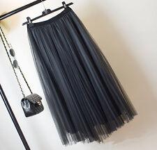 New Fashion Womens Slim Fit Loose Ruffled Three layers Skirts Waist Net Yarn