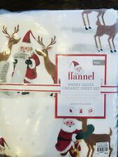 Pottery Barn Kids Merry Santa Full Sheet Set Christmas Organic COTTON Flannel