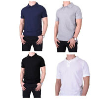 Mens 100% Cotton Solid Short Sleeve Slim Fit Polo Shirts With Side Vents S~XL
