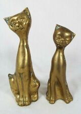 """Vintage Set Of 2 Brass Patina Siamese Cat Figurines 7"""" and 6"""""""