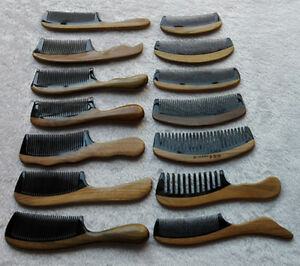"4.1-8"" Unisex Natural Black Ox Horn Fine/Wide-Toothed Massage Comb Verawood Rim"