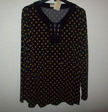 MICHAEL KORS BLACK gold mk logo Long Sleeve Tunic Blouse Shirt large new