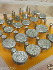 50 pcs Diamond tipped coated rotary grinding head jewelry lapidary burr GRIT 40