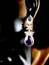 STUNNING NWT VICTORIA WIECK 925 STERLING SIMULATED TANZANITE CZ DANGLE EARRINGS