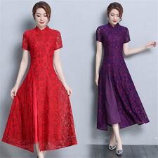 HA182 China Style Lace Women's Long Slim Gown Shift Dress Cheongsam S-4XL