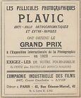 Z9861 PLAVIC - Compagnie Industrielle des Films - Pubblicità d'epoca - 1924 Ad
