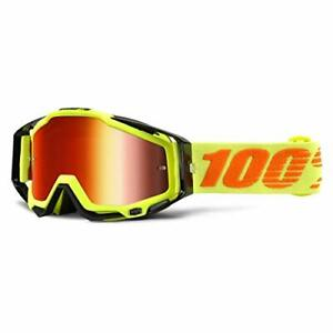 100% RACECRAFT Goggle Attack Yellow Mirror Red Lens Downhill MTB MX