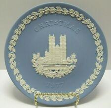 Wedgwood 1977 Christmas Plate - Blue & White Jasperware - Westminster Abbey