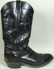 Vtg 1970s Cowboy Boots Black Leather Unknown Brand Info Worn Off Mens Size 10