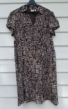 CATO Woman DRESS - Brown & white - Size 18W Cap Sleeves Lined Career Pleated