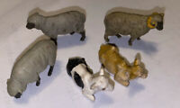 "VINTAGE TOY SMALL FARM ANIMALS SHEEP COW ETC 5 X SMALL BRITAINS TOYS 1"" Plastic"