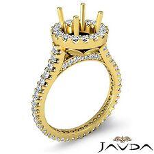 Halo Prong Diamond Engagement Ring 18k Yellow Gold Round Shape Semi Mount 1.5Ct