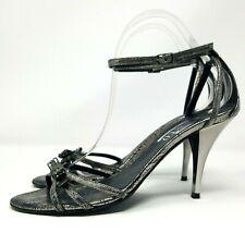 Ladies Ankle Strap Heels UK 5 Distressed Silver & Gunmetal Sandal Stiletto
