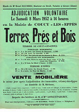 AISNE (02) / COUCY-LES-EPPES / VENTE TERRES PRE & BOIS EN 1952