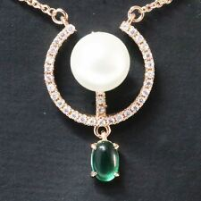 Sparkling Round Pearl With Emerald Necklace Women Jewelry 14K Rose Gold Plated