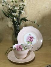 VINTAGE CUP SAUCER PLATE TRIO CSP Aynsley ~ Pink Cabbage Rose ENGLAND BONE CHINA