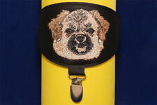 Tibetan Spaniel arm band ring number holder with clip. For dog shows.