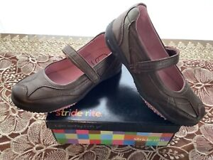 New Stride Rite CAROLINE Girls Mary Jane shoes pink brown leather 11 12 toddler