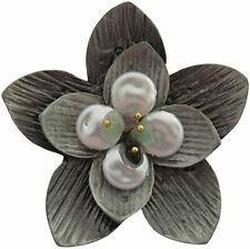 Brooch Pendant Mothers Day Gift Textured Silver Freshwater Pearl Double Flower