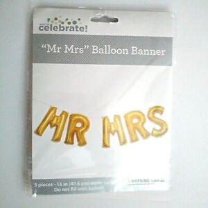 "NIP MR MRS 16"" Gold BALLOON BANNER 5 Pieces MYLAR BALLOONS No HELIUM NEEDED!"