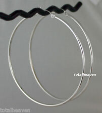 "Classic 3"" BIG Solid 14k White Gold Hoop Earrings 4.04g Shiny 75mm x 2mm NEW"