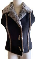 Fjall Black Faux Suede & Faux Fur Lined Women's Vest Size Small