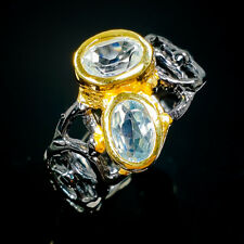 Women Jewelry design Natural Blue Topaz 925 Sterling Silver Ring Size 7/R94244