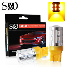 2X 7443 7440 T20 Amber Yellow 12SMD CREE XPE Car LED Tail Turn Signal Light Bulb