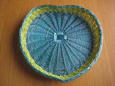 turqoise and green beaded heart shaped storage/display basket