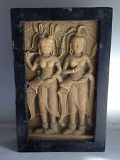 Ancien bas relief en rond de bosse/Art Khmer/Pierre