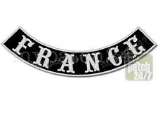 Un écusson Biker patch France Arc bas 30cm brodés, Bottom rocker, MC