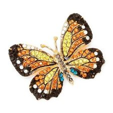 Monarch Butterfly Brooch Austrian Crystal Pin Gold Plated Pin