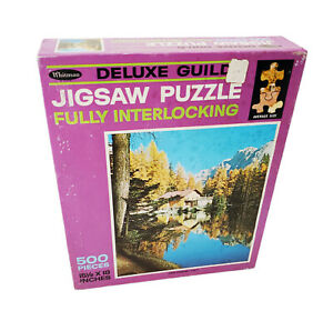 "Vintage Whitman Deluxe Guild ""Lake Ghedina Italy"" Jigsaw Puzzle 500 Pcs 4615 USA"