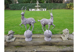 Pair of Stag Statues Garden Ornament Cast Iron Stag Deer Lawn Statues 1920s