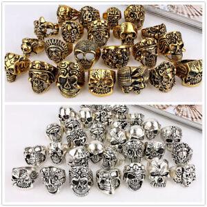 Wholesale Lots Mixed Skull Gold/Silver Men's Rings Jewelry Biker Punk Ring 30pcs
