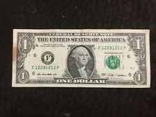 """$1 Dollar Bill Series 2009 (Atlanta), """"Short Repeater"""" Serial Number 12 29 12 12"""